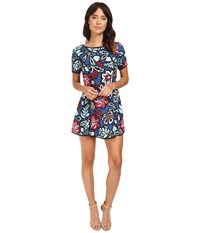 Adelyn Rae Printed Woven Skort Romper Navy Women's Jumpsuit And Rompers One Piece