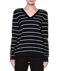 Marni Long Sleeve Striped V Back Sweater Navy