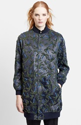 Julien David Velvet Palm Tree Laminated Bomber Coat Navy