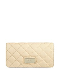 Dkny Quilted Leather Snap Flap Wallet Sand