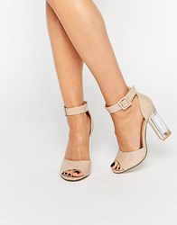 Truffle Collection High Heeled Sandal Nude Patent Beige