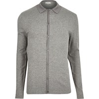 River Island Mens Grey Button Up Short Sleeve Jumper