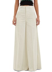Marni Wide Flared Corduroy Pants White