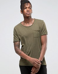 Selected Homme Longline T Shirt With Raw Edges Olive Nights Green