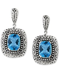 Effy Collection Balissima By Effy Blue Topaz 5 Ct. T.W. Drop Earrings In Sterling Silver