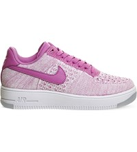 Nike Air Force 1 Flyknit And Leather Low Top Trainers Fuschia Glow