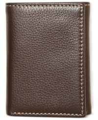 Tasso Elba Naked Milled Trifold Wallet Brown