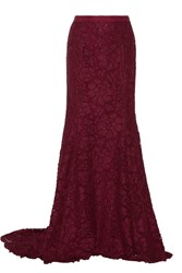 Oscar De La Renta Cotton Blend Lace Maxi Skirt Burgundy