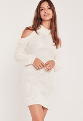 Missguided Cold Shoulder Chunky Stitch Mini Dress White Ivory