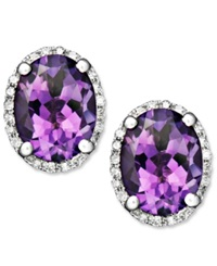 Macy's 14K White Gold Earrings Amethyst 3 Ct. T.W. And Diamond 1 8 Ct. T.W. Oval Studs