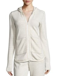 Atm Anthony Thomas Melillo Striped Terry Hoodie Heather Grey Oatmeal Stripe