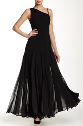 Halston Sequin Beaded Evening Gown Black