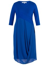 Chesca Jersey Chiffon 3 4 Sleeve Dress Blue