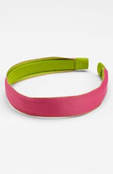 L. Erickson Satin Ribbon Headband Pink Pink Green