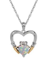 Macy's Opal 3 4 Ct. T.W. And Diamond Accent Heart Pendant Necklace In Sterling Silver And 14K Gold