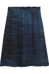 Raquel Allegra Tie Dyed Silk Georgette Mini Skirt Midnight Blue