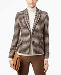 Max Mara Weekend Fringe Trim Plaid Blazer Camel