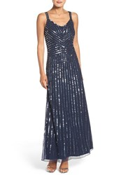 Pisarro Nights Women's Embellished Mesh Fit And Flare Dress