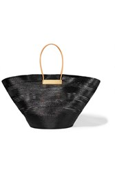 Balenciaga Cable Leather Trimmed Glossed Raffia Effect Tote