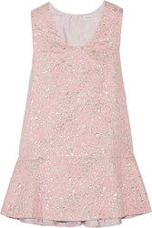 Delpozo Metallic Jacquard Mini Dress Baby Pink