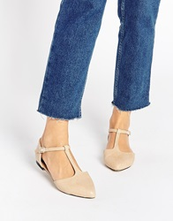 Warehouse T Bar Flat Shoes Neutral