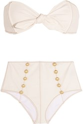 Lisa Marie Fernandez Poppy Stretch Denim Bandeau Bikini Cream