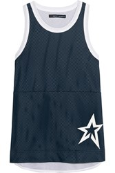 Perfect Moment Jersey Trimmed Mesh Tank Midnight Blue