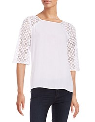 Context Crinkle Lace Blouse True White