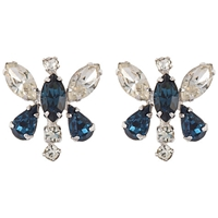 Susan Caplan Vintage Bridal 1950S Butterfly Silver Plated Earrings Blue Clear