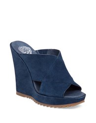 Vince Camuto Garton Suede Platform Wedge Sandals Navy Blue