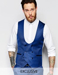 Noose And Monkey Tuxedo Vest With Stretch And Jacquard In Super Skinny Fit Blue