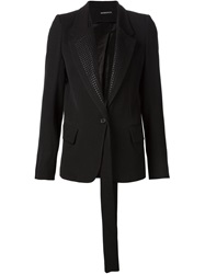 Ann Demeulemeester Embroidered Lapel Straped Blazer Black