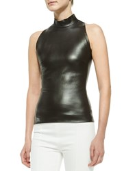 The Row Sleeveless Mock Neck Leather Top Charcoal Brown
