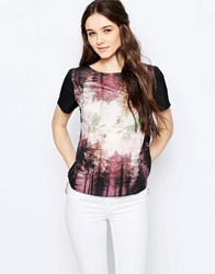 Sugarhill Boutique Brittany Woodland Tee Top Black Multi