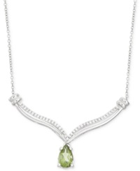 Macy's Peridot 7 8 Ct. T.W. And Diamond 1 10 Ct. T.W. Necklace In Sterling Silver