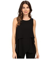 Vince Camuto Sleeveless Asymmetrical Layered Blouse Black Women's Blouse