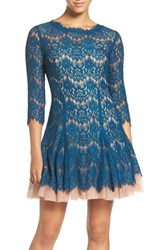 Betsy And Adam Women's Cutout Back Lace Fit Flare Dress Peacock Mocha