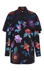 Burberry Floral Caped Shirt Navy