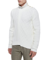 Maison Martin Margiela Cable Knit Sweater With Button Detail Cream