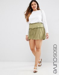 Asos Curve Casual Tiered Shorts Khaki Green