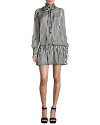 Marc Jacobs Satin Striped Drop Waist Dress Black White Black White