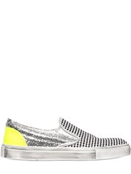 Gienchi Gingham And Glittered Slip On Sneakers Silver Multi