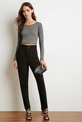 Forever 21 Marled Crop Top Grey