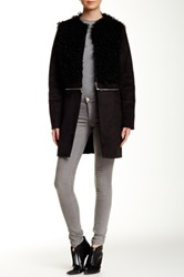 1.State Vertical Shearling Coat Black