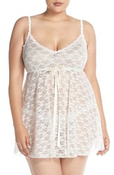 Plus Size Women's Hanky Panky 'Peek A Boo' Lace Babydoll Chemise And Thong Light Ivory