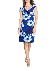 Lauren Ralph Lauren Floral Cowlneck Sheath Dress Navy Blue