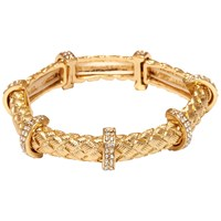 Adele Marie Textured Tube And Crystal Bar Stretch Bracelet Gold