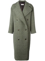 Alberto Biani Plaid Double Breasted Coat Green