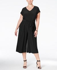 Ny Collection Plus Size Belted Gaucho Jumpsuit Black