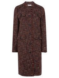 Lk Bennett L.K. Florence Check Coat Truffle Red